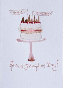 Birthday Cake on White Card