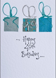 Turquoise Parcels on White Card