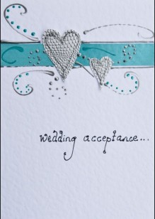 Silver Hearts/Turquoise on White Card