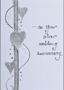 Silver Hearts on White Card