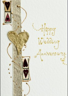 Gold Hearts on Cream Card