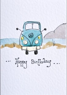 Camper Van on White Card